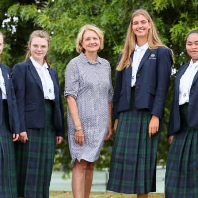 Principal Justine Mahon with Leadership Girls